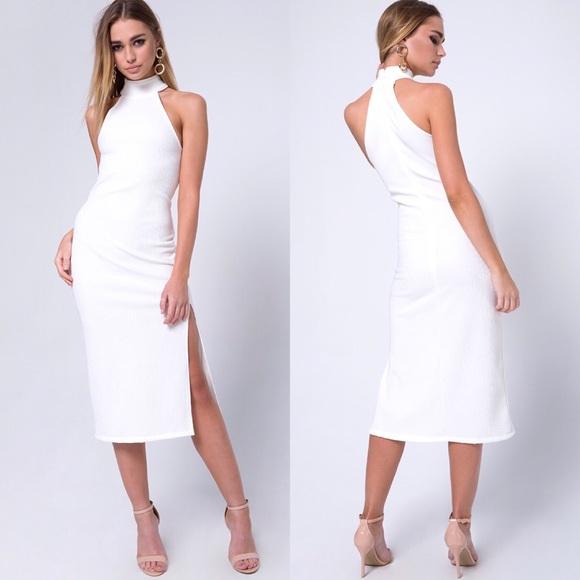 a22c88fe21a Motel Bodycon Midi Dress in Rib Ivory